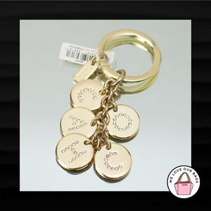 NEW! COACH GOLD LETTERS CRYSTAL ROUND DISC KEYFOB